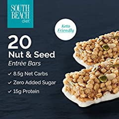 The South Beach Simply-Fit Nut and Seed Bar is packed with delicious flavor! This is a great grab-and-go meal option for busy days. This Keto-Friendly Entrée Bar has nuts, seeds, 15g of Protein, 4g of Net Carbs and Zero Added Sugar.