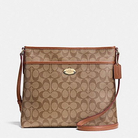 Coach Signature Coated Canvas File Bag in Khaki & Saddle Brown