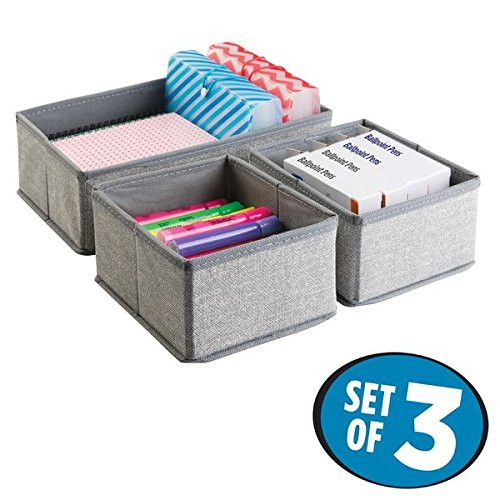 mDesign Fabric Desk Drawer Storage Organizer for Office Supplies, Highlighters, Pens, Notepads, Scissors, Tape - Set of 3, Gray