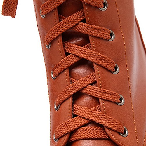 AmoonyFashion Womens High Heels Solid Closed Round Toe Lace-Up Boots Brown 00uhg8bBYZ