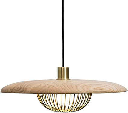 TopDeng Nordic Wood Chandelier, E26 3 Lights Simple Ceiling