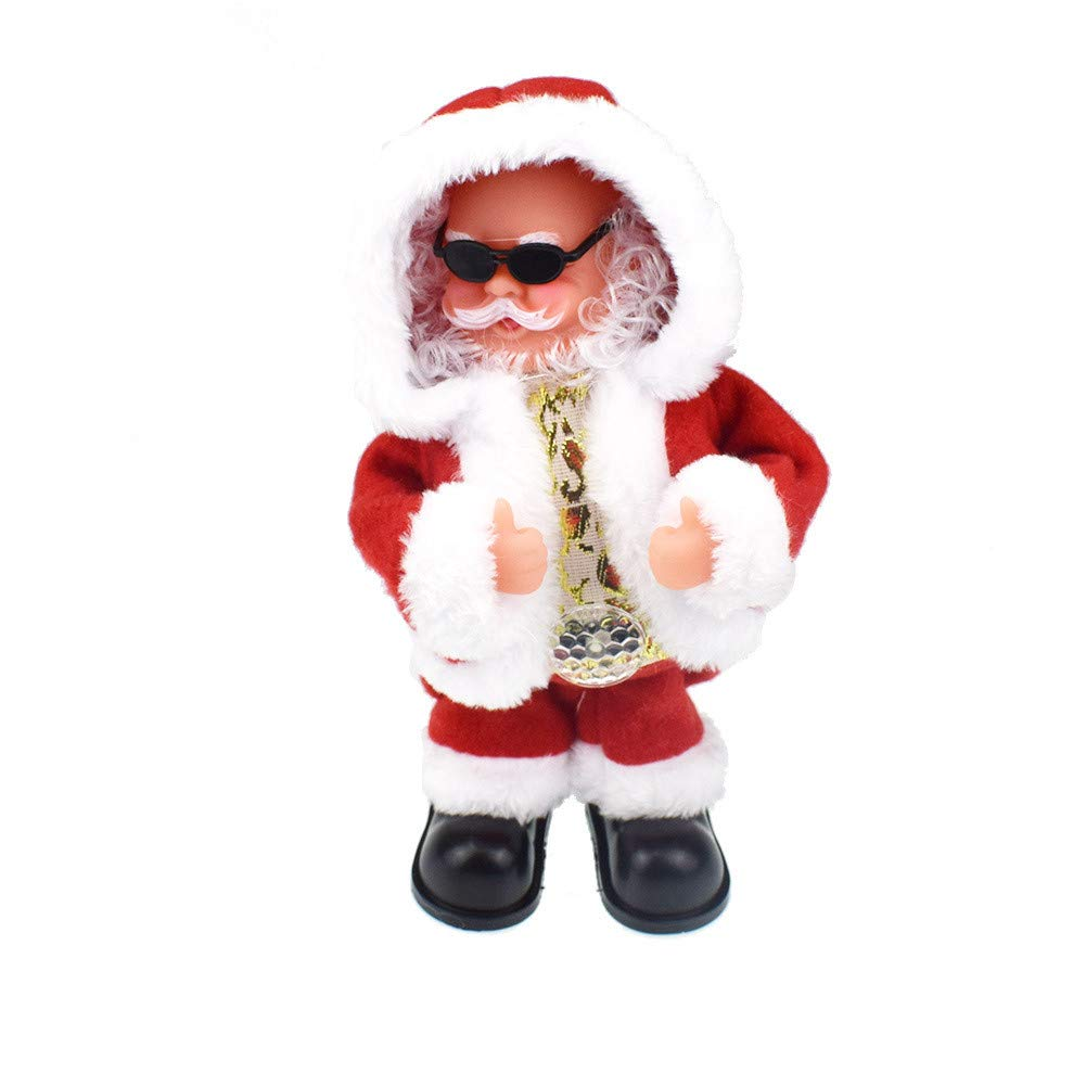 CreazyBee Santa Claus Dancing Singing Doll As Plush Christmas Dolls Music Toy for Kids for Kids (Red) by CreazyBee