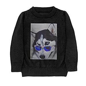 Hailin Tattoo Niece Cool Fit Knit Sweater Pullover 3D Printed Sunglasses Husky Various Styles Adult Sweater S-XL Black X-Large