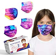 Kids Size Disposable Face Masks, Tie Dye Masks for Boys Girls Individually Wrapped, Childrens Cute Face Mask w