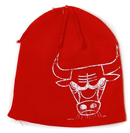 d3cf2b3431f Chicago Bulls Reversible Distressed Adidas Red Skull Cap - NBA Cuffless Beanie  Knit Cap