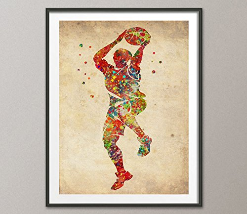 Vintage Basketball Player Watercolor Posters Sports Art Prints Wall Decor Artworks Wall Dining Room