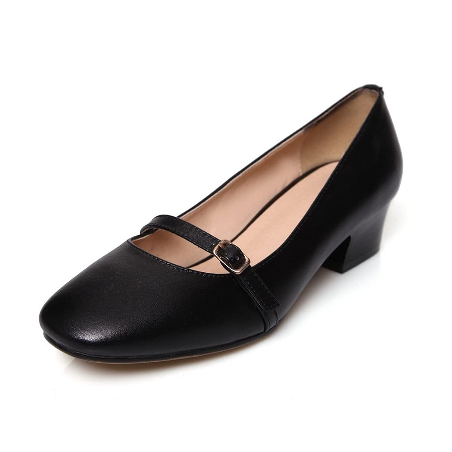 AdeeSu Womens Slip-Resistant Round-Toe Solid Pleather Pumps Shoes SDC03981