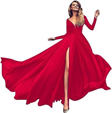 WFRAU seksowna damska sukienka z długim rękawem, jednokolorowa, formalna sukienka wieczorowa, damska, z głębokim dekoltem w kształcie litery V, smukła sukienka koktajlowa na imprezę, do klub