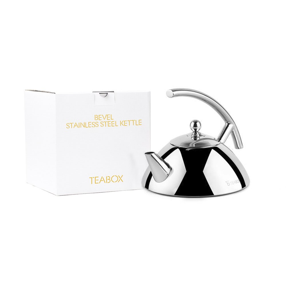 Teabox Bevel Stainless Steel Tea Medium Stovetop Tea Kettle with Infuser | Capsulated Base | 34 fl oz (1-Piece)