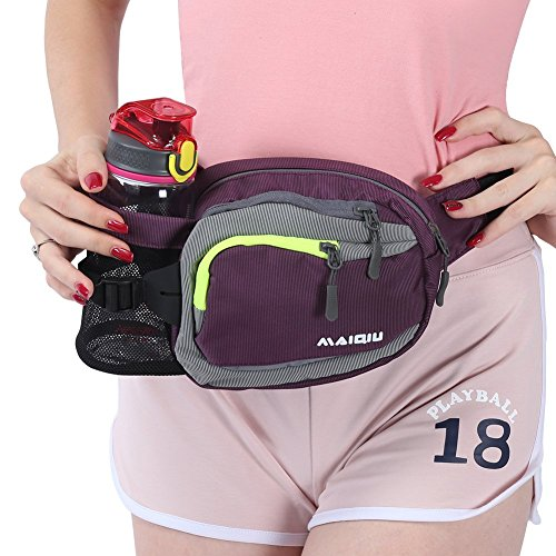 Innokids Fanny Pack with Water Bottle Holder Hiking Waist Pack Lumbar Waist Bag for Women Men Running Dog Walking Camping Travel (Purple)