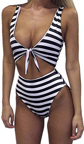 - Womens Swimsuits Sexy Thong Bandeau Bikini High Waisted One Piece Bathing Suit Monokini, Small, Black