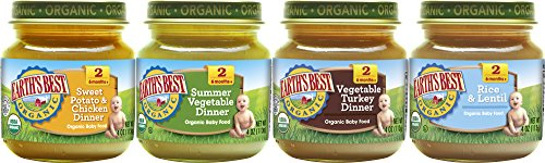 Earths Best Organic Stage 2 Baby Food, Delicious Din Din Variety Pack (Sweet Potatoes & Chicken, Summer Vegetable, Vegetable & Turkey, and Rice & Lentil), 4 Ounce Jars, Pack of 12
