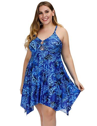 Hanna Nikole Women's Plus Size Swimwear Skirted Swimsuit Printed One Piece Swimdress Blue 16W ()
