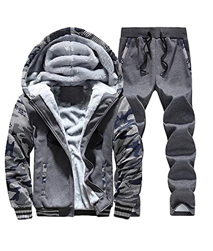 BYWX-Men Fleece Camo Print Jackets Sweatpants Sweatsuit Tracksuit Darkgray US XS (Pants Rei Fleece)