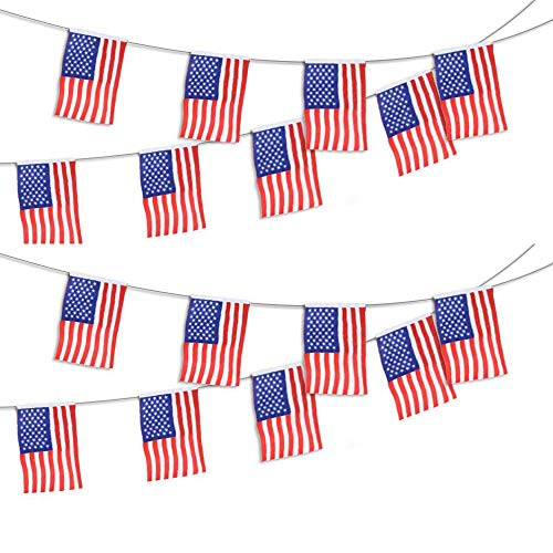 American Flag Banner 15 Foot Plastic Line Patriotic Decorations, Includes 15 Plastic USA Flags 8