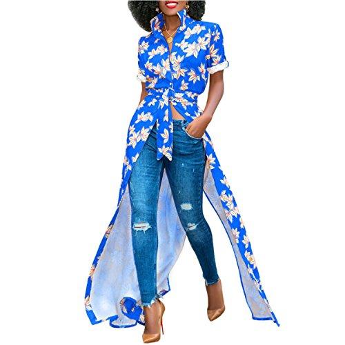 Corta Azul Vestido Boho Maxi Vestidos Manga Camisa Botón Solapa Atada un Tamaño Las L Mujeres Color de Floral f5qpxUw