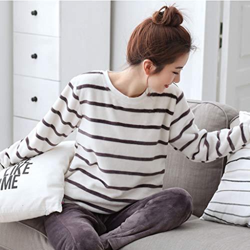 Multi De Para Una Aplicable Redondo Niñas Otoño Rayas colored Camisones Pieza Cuello Hembras Dormir Coral E Pijamas Ropa Terciopelo Invierno Yp4zxw