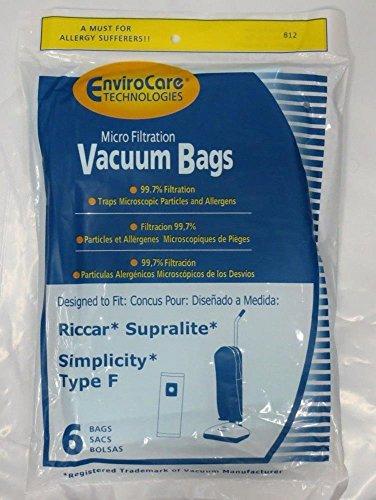 Vacuum Cleaner Bags Envirocare Brand Vacuum Bags Simplicity Type F / Riccar Supralite (2 x 6 Packs) (Simplicity Vacuum Cleaners Belts)