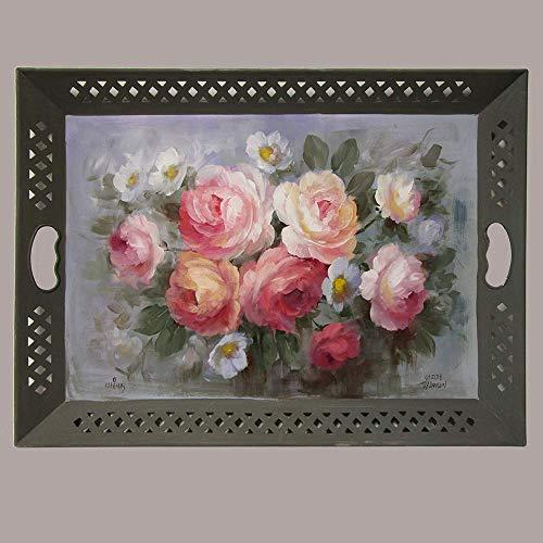 Blushing Winter Roses Tray from Jansen Art Studio