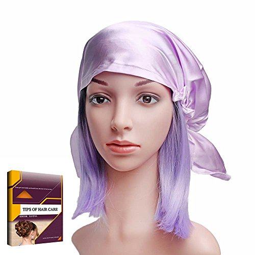 - Savena 100% Mulberry Silk Night Sleeping Cap for Long Hair Bonnet Hat Warm Soft Many Colors, Hair Care Ebook Included (Light Purple)