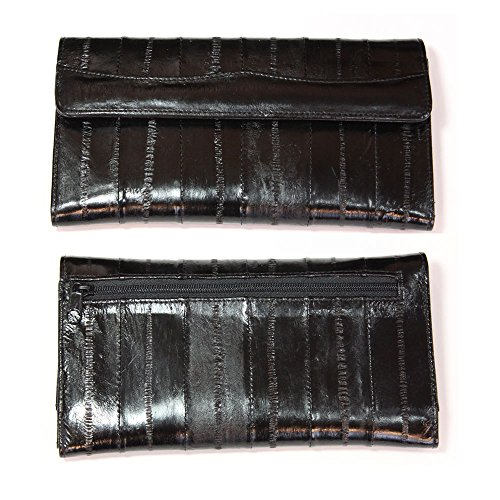 Eel Purse Skin (Genuine Eel Skin Leather Womans Long Wallet Trifold Purse (Black))
