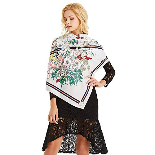 NUWEERIR Womens Extra Large Scarf 100% Twilled Silk Square Scarf Blanket Scarf Shawl Wraps 51x51 Inches (White) ()