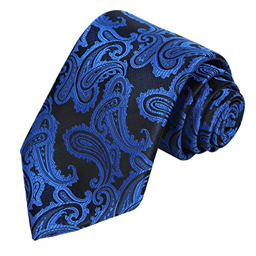 (KissTies Mens Royal Blue Tie Paisley Necktie + Gift)
