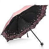 Sakura Umbrella-Windproof Anti UV Rain/Sun,Cherry Blossom Folding Umbrella (Pink)