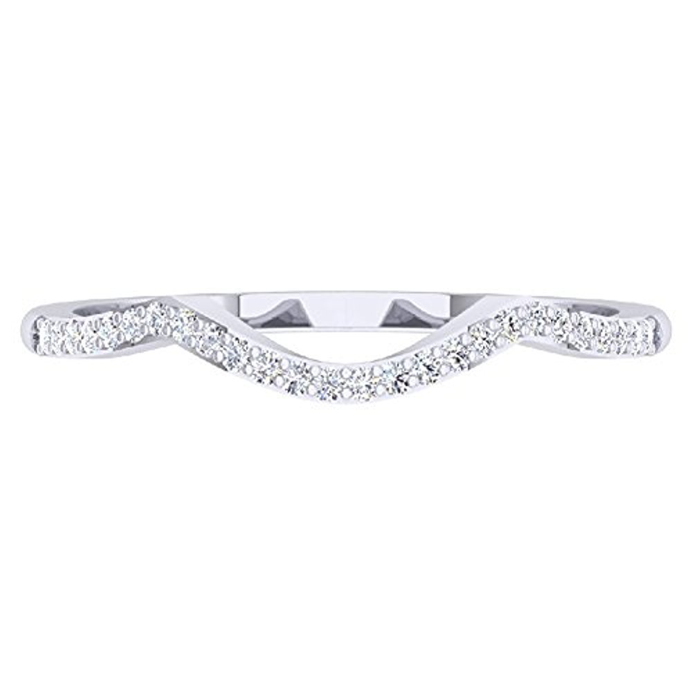 0.15 ctw 18K White Gold Plated Round Cut Created White Diamond Ladies Anniversary Wedding Stackable Band Contour Guard Ring Dezneyjewels SVC00015
