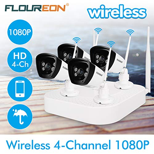 FLOUREON 4CH 1080P Security Camera System Wireless Video Recorder NVR kit with 4X HD 720P 1.0MP CMOS Lens Weatherproof Indoor Outdoor IP Cameras, Motion Detection, Easy Remote Access, Night Vision