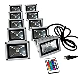 eTopLighting LEFRGB10CP-10P (10 Lot) 16 RGB Color Changing 10W LED Flood Light With Cord Plug Remote Controller For Outdoor Security Landscape