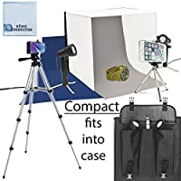 Photo Studio Kit with 2 Lights, Studio Box/Tent, 3 Background Colors (White, Grey, Blue), Slim Travel Case + 50 Camera Tripod eCost Microfiber Cloth