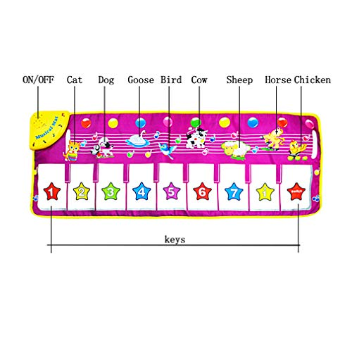 Yolyoo Musical Mat, Piano Keyboard Play Mat Animal Musical Step on Dance Toy Baby Touch Electronic Piano Play Mat for 3-6 Year Old Kids by Yolyoo (Image #3)