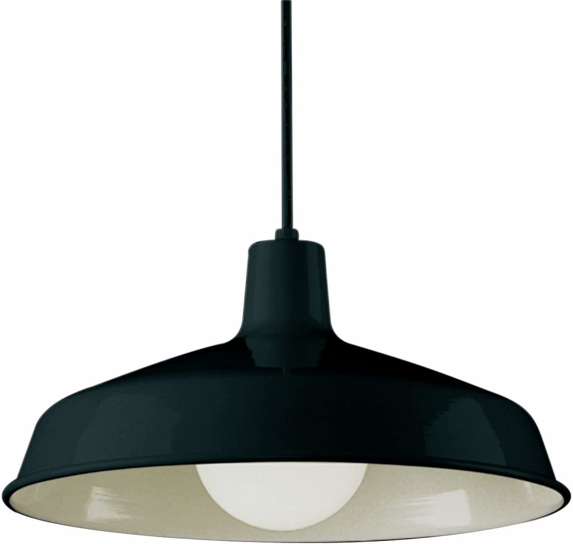 Bel Air Lighting Trans Globe Imports 1100 BK Restoration One Light Pendant from Sherman Collection in Black Finish, 15.50 inches