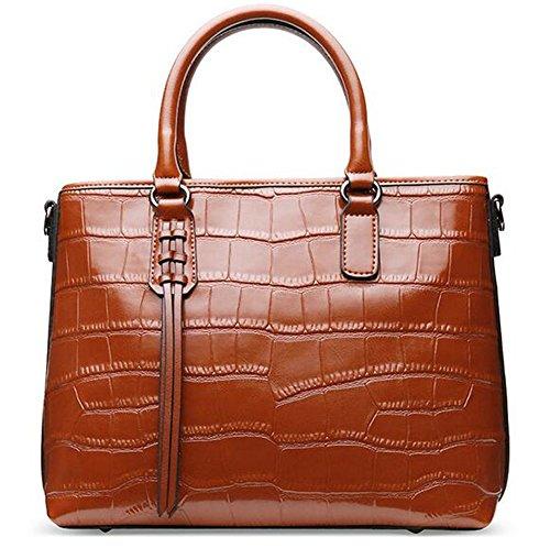 de salvaje Zipper verano cara bolsos paquete hombro slido y de cocodrilo de color cuero Brown de bolsa diagonal primavera mano blanda Patrn 6AqwUBO