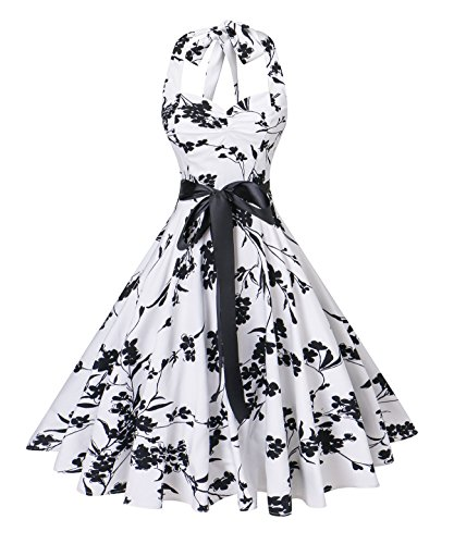 V Fashion Women's Vintage 1950s Halter Neck Polka Dot Audrey Hepburn Dress 50s Retro Swing Dresses with Belt,Floral White and Black,X-Large (Black And White Shoes From The 60s)