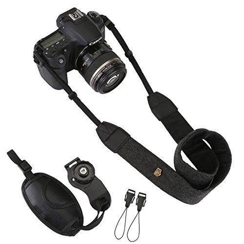 Padded Camera Shoulder Strap (DSLR/SLR Camera Neck Shoulder Belt Strap, Yoption Cotton Canvas Camera Shoulder Strap with Camera Leather Hand Grip Wrist Strap Belt for ALL DSLR/SLR)