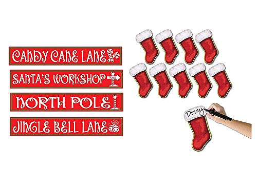 Beistle Set of 4 4 in x 24 in North Pole Street Sign Cutouts and Set of 10 7-1/4-Inch Mini Christmas Stocking Cutouts -