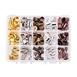 PH PandaHall 150pcs 5 Color 3 Sizes Brass Leather Cord Ends Tassel Cap Cord Link Buckle for Kumihimo Barrel and Jewelry Making(6mm, 8mm, 10mm)