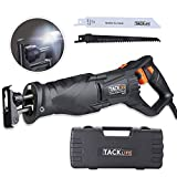 Reciprocating Saw 1-1/8''(28mm) High Efficiency Stroke Length, Rotating Blades Position, 10feet(3M) Cord Length, LED Light, 2 Blades, Variable Speed, Power and Heavy Fit for DIY-RPRS01A Tacklife