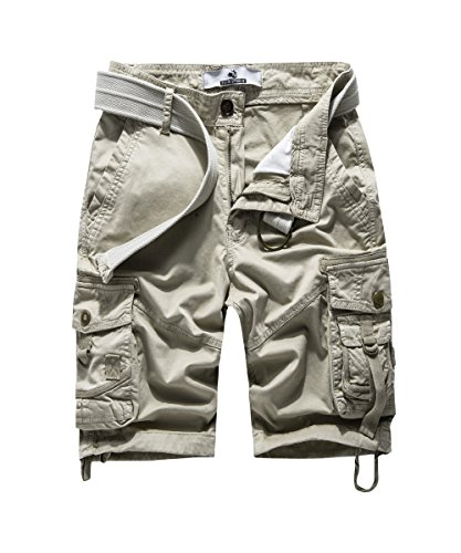 FOURSTEEDS Women's Cotton Relaxed Fit Casual Multi-Pocket Tiwll Bermuda Cargo Shorts Khaki US 10