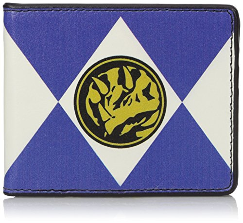 Buckle-Down Men's Wallet Diamond Blue Ranger Triceratops Power Logo Accessory, -Multi, One Size