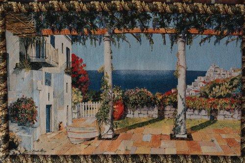 Tache 28 X 47 Inches Vintage Coastal Mediterranean Summertime Retreat Tapestry Jacquard Wall Hanging Art Decor