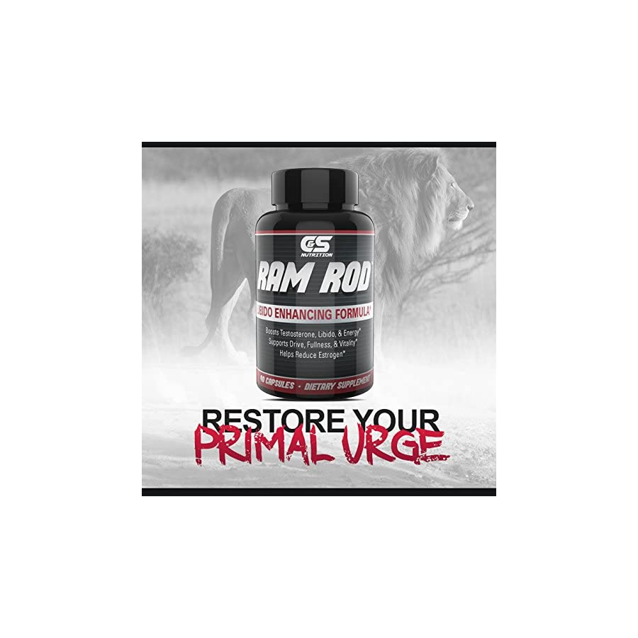 RAM Rod– Increase Drive, Increase Testosterone, Increase Energy. Premium Horny Goat Weed, Vitamins B6, DIM, Chrysin, Maca