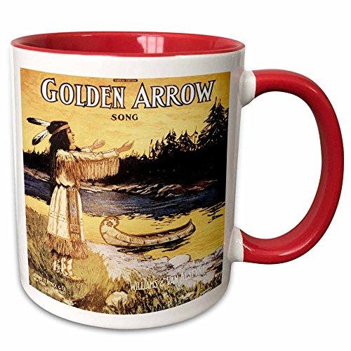 3dRose BLN Vintage Song Sheet Covers Reproductions - Golden Arrow Song Native American Woman and Canoe - 15oz Two-Tone Red Mug (mug_169962_10)