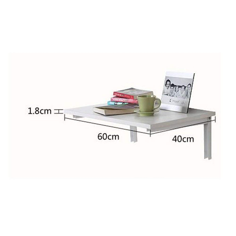 White 4060 Tingting Wall-Mounted Folding Table Drop-Leaf Table for Living Room Bedroom Study Room Small Space 2 Sizes Wood White (color   Wood, Size   40  60)