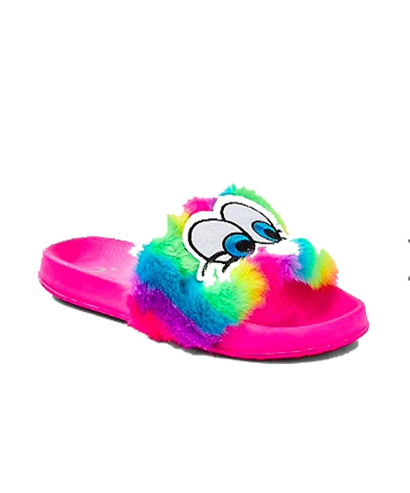 justice Girls Rainbow Patch Slide Sandals Citrus Coral Poly