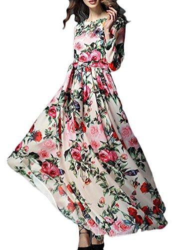 Ainr Femmes Imprimé Floral Bohême Partie Parole Longueur Swing Soirée Robes Longues 1