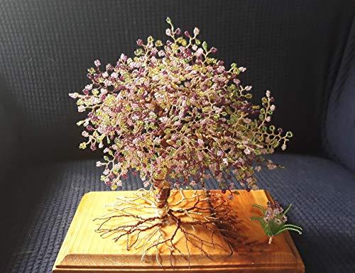 Home Decor Beaded Wire Tree Bonsai - Purple, Pink, Green Beads & Copper ()