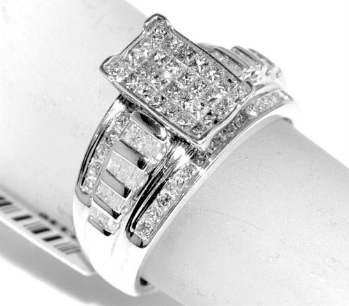1ct-Diamond-ring-Princess-cut-diamonds-Ladies-wide-ring-3-in-1-style-Stelring-Silver